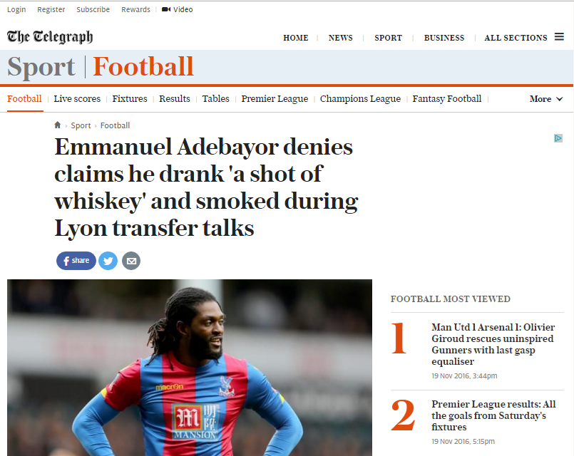 The Telegraph piégé par le faux entretien d'Emanuel Adebayor publié par Football France